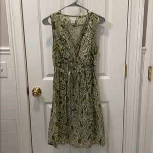 Green and white M maternity dress